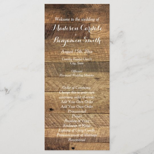 rustic country barn wood wedding program template zazzle com