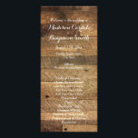 """Rustic Country Barn Wood Wedding Program Template<br><div class=""""desc"""">Two Sided Vertical Wedding Program. The front side is a glossy finish, and the back side is more of a matte finish. Room for your order of ceremony on the front and your wedding party on the back. Add a personal note from the bride and groom at the bottom. wedding...</div>"""