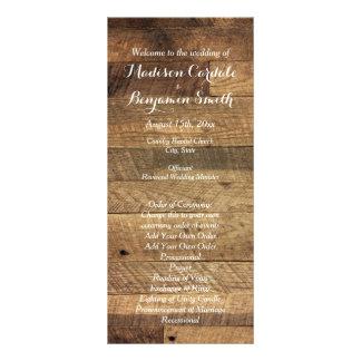Rustic Country Barn Wood Wedding Program Template Custom Rack Cards