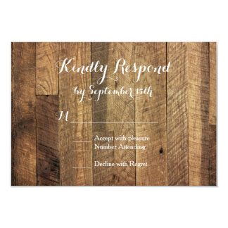 "Rustic Country Barn Wood Wedding RSVP Cards 3.5"" X 5"" Invitation Card"