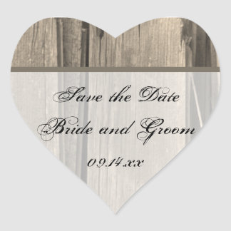 Rustic Country Barn Wood Wedding Save the Date Heart Sticker
