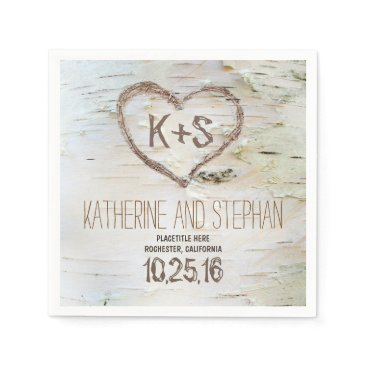 Valentines Themed rustic country birch bark paper napkins
