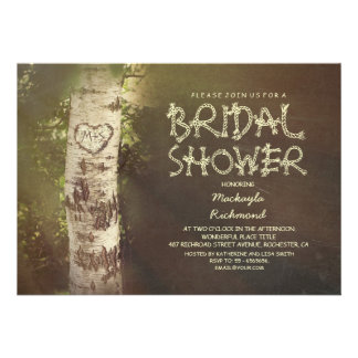 Rustic country birch tree bridal shower custom invites