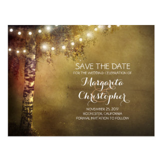 rustic country birch tree & lights save the date postcard