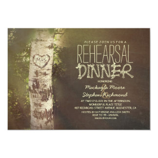 Rustic country birch tree rehearsal dinner card