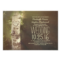 Rustic country birch tree wedding invitations