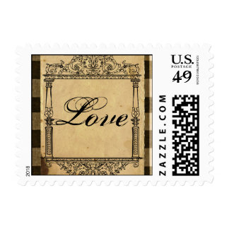 Rustic Country Black and Sepia Wedding Postage