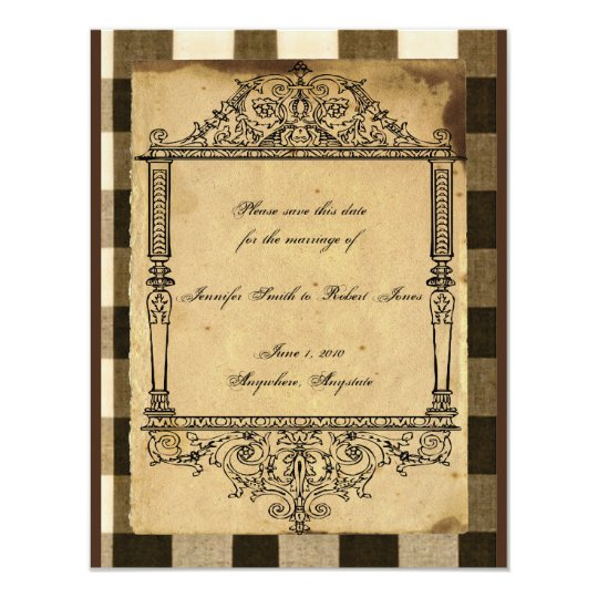 Rustic Country Black Sepia Checks Save the Date Card