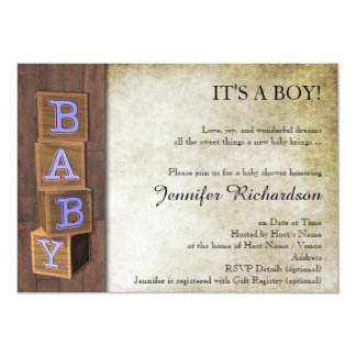 Rustic Country Blue Blocks Baby Shower Invitation