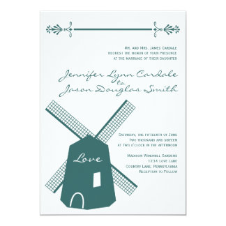 Rustic Country Blue Windmill Wedding Invitations