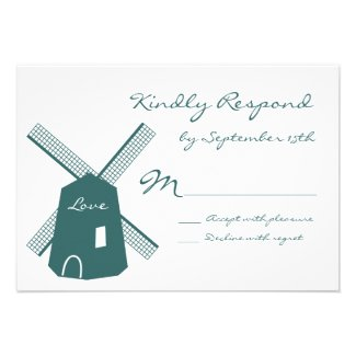 Rustic Country Blue Windmill Wedding RSVP Cards