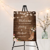 Rustic Country Boots String Lights Floral Wedding Foam Board