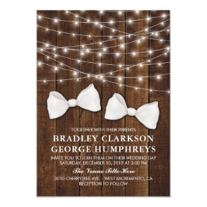 Rustic Country Bow Tie Gay Groom Wedding Card
