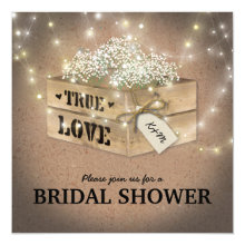 Rustic Country Bridal Shower Babys Breath Lights Invitations