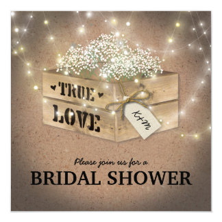 Rustic Country Bridal Shower Baby's Breath Lights Card