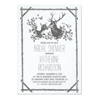 Rustic country bridal shower invites with deer