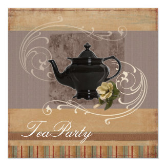 Rustic Country Bridal Shower Tea Party Invitation