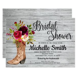 rustic country bridal western boho bridal shower invitation