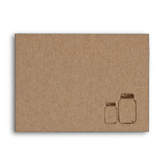 Rustic | Country Brown Masonjars Wedding Envelope