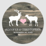 Rustic Country Buck and Doe Envelope Seal Classic Round Sticker