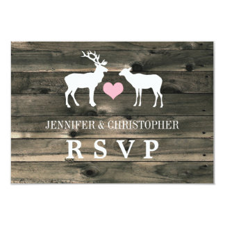 """Rustic Country Buck and Doe RSVP Announcement 3.5"""" X 5"""" Invitation Card"""
