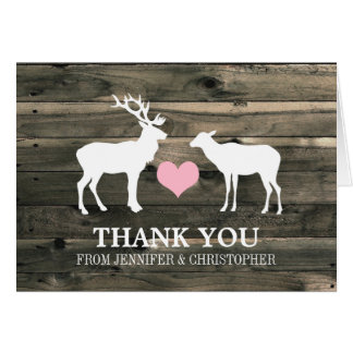 Rustic Country Buck and Doe Thank You Card Note Card