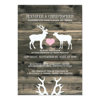 "Rustic Country Buck and Doe Wedding Invitation 5"" X 7"" Invitation Card"
