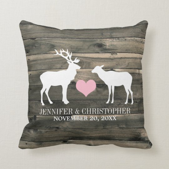 Rustic Country Buck And Doe Wedding Pillow Zazzle Com