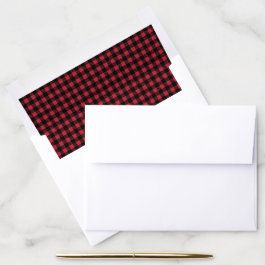 Rustic Country Buffalo Check Plaid Red Black Envelope Liner