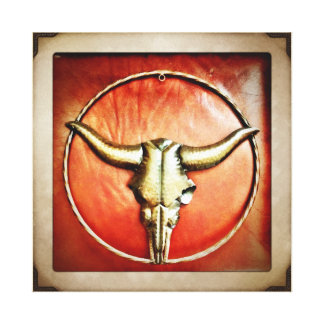Rustic Country Bull Horns Faux Leather Design Canvas Print