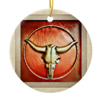 Rustic Country Bull Horns Faux Leather Design Ceramic Ornament