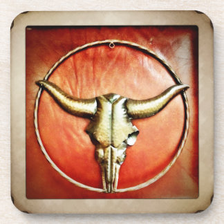 Rustic Country Bull Horns Faux Leather Design Drink Coaster