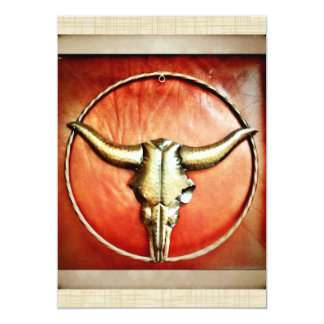 Rustic Country Bull Horns Faux Leather Design 5x7 Paper Invitation Card