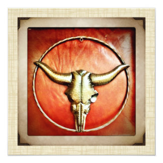 Rustic Country Bull Horns Faux Leather Design 5.25x5.25 Square Paper Invitation Card
