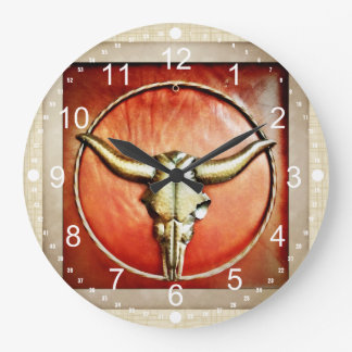 Rustic Country Bull Horns Faux Leather Design Large Clock