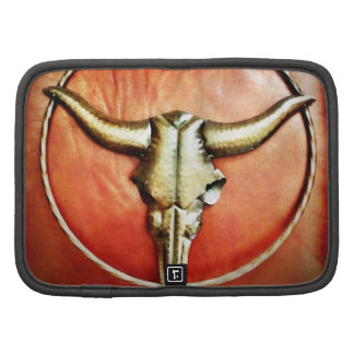 Rustic Country Bull Horns Faux Leather Design Folio Planner
