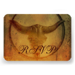 Rustic Country Bull Horns Wedding RSVP Cards