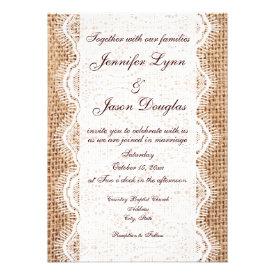 Rustic Country Burlap and Lace Wedding Invitations Custom Invitations