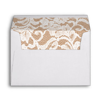 Rustic Country Burlap and Lace Wedding Lined Envelope