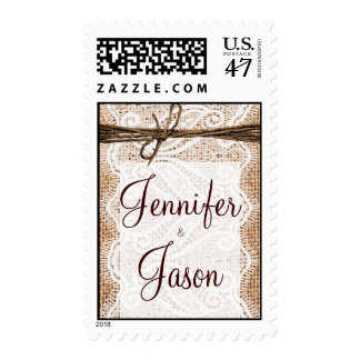 Rustic Country Burlap and Lace Wedding Stamps