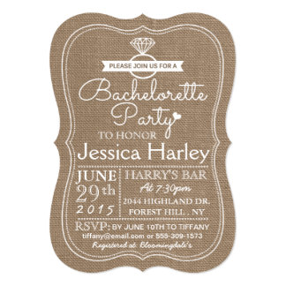 Rustic Country Burlap Bachelorette Party Card