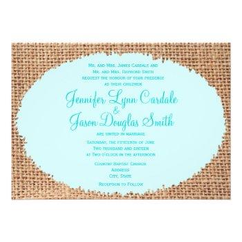 Rustic Country Burlap Blue Wedding Invite