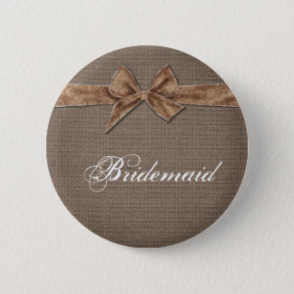 Rustic Country | Burlap Bow Bridesmaid Pinback Button