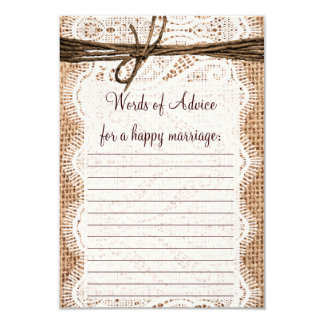 "Rustic Country Burlap Bridal Advice Cards 3.5"" X 5"" Invitation Card"