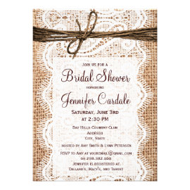 Beau Rustic Country Burlap Bridal Shower Invitations