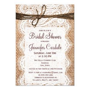 Bridal shower invitations custom wedding invitations online rustic country burlap bridal shower invitations filmwisefo Images