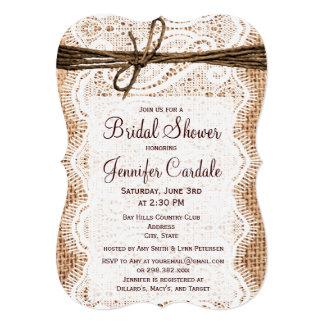 "Rustic Country Burlap Bridal Shower Invitations 5"" X 7"" Invitation Card"