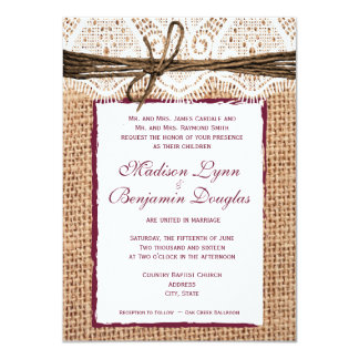 "Rustic Country Burlap Cranberry Wedding Invite 4.5"" X 6.25"" Invitation Card"
