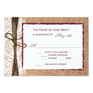 "Rustic Country Burlap Cranberry Wedding RSVP Cards 3.5"" X 5"" Invitation Card"