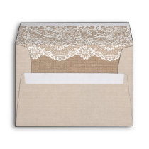 Rustic Country Burlap Elegant Lace Wedding 5x7 Envelope